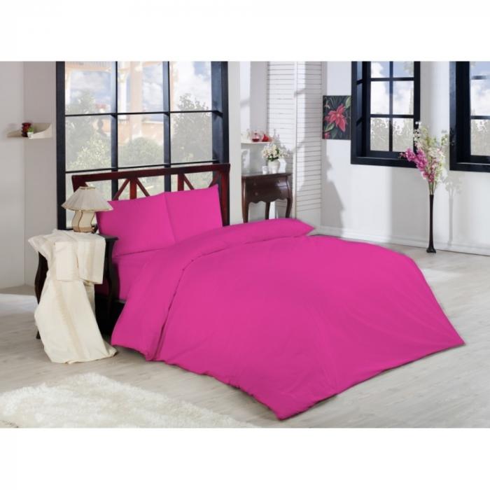 Lenjerie de pat pentru o persoana cu husa de perna dreptunghiulara, London, bumbac satinat, gramaj tesatura 120 g/mp, Roz 0