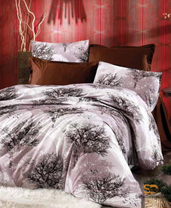 Lenjerie de pat pentru o persoana cu husa de perna dreptunghiulara, Nature, bumbac satinat, gramaj tesatura 120 g/mp, multicolor 0