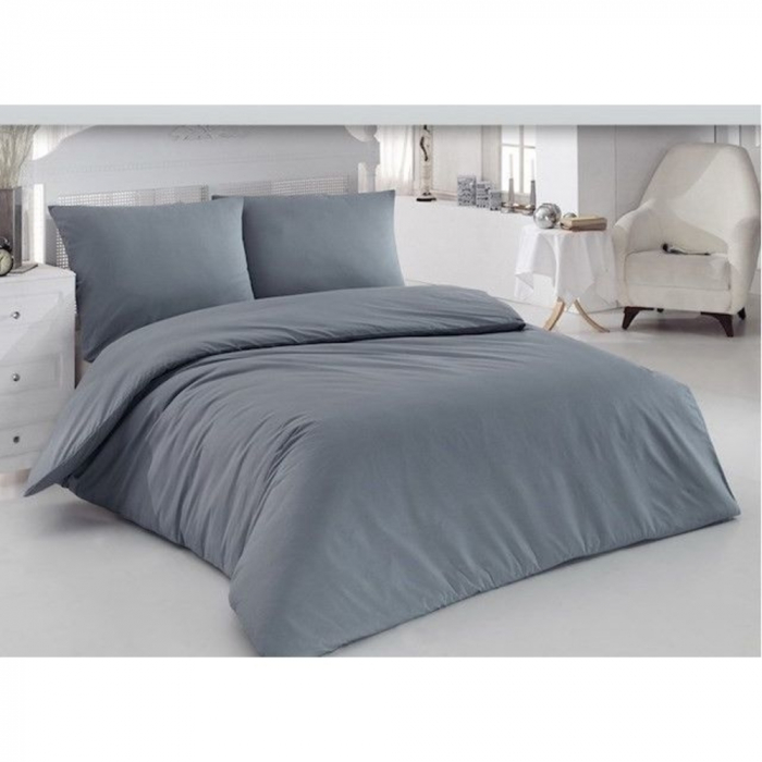 Lenjerie de pat pentru o persoana cu husa de perna dreptunghiulara, Notorious, bumbac satinat, gramaj tesatura 120 g/mp, Gri [0]