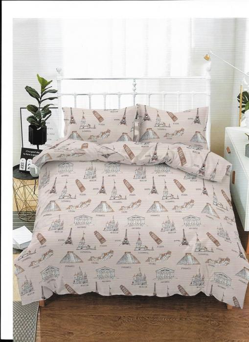 Lenjerie de pat pentru o persoana cu husa de perna dreptunghiulara, Paris, bumbac mercerizat, multicolor [0]