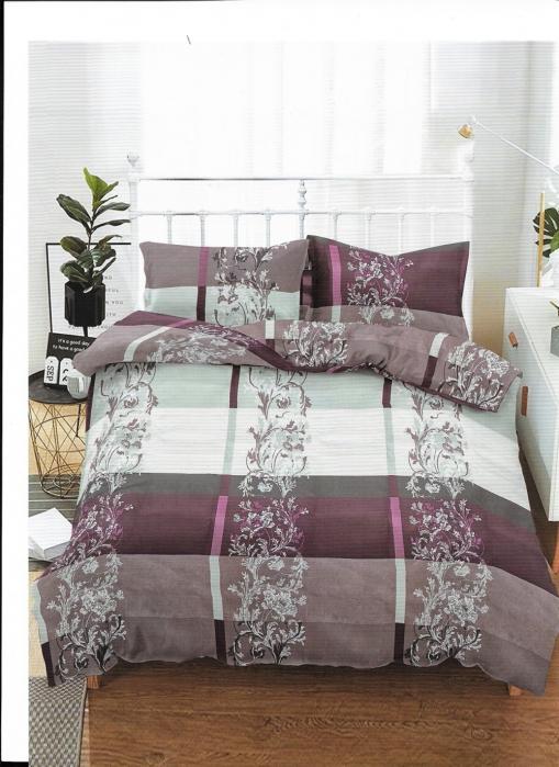 Lenjerie de pat pentru o persoana cu husa de perna dreptunghiulara, Relax, bumbac mercerizat, multicolor [0]