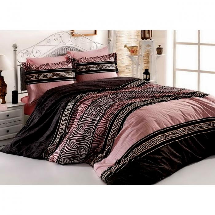 Lenjerie de pat pentru o persoana cu husa de perna dreptunghiulara, Rose, bumbac satinat, gramaj tesatura 120 g/mp, multicolor 0