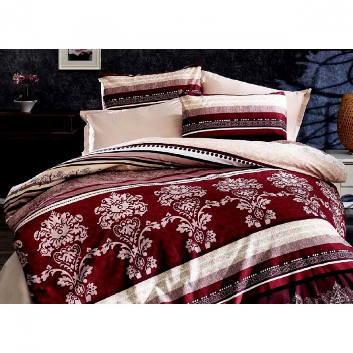 Lenjerie de pat pentru o persoana cu husa de perna dreptunghiulara, Sinatra, bumbac satinat, gramaj tesatura 120 g/mp, multicolor [0]