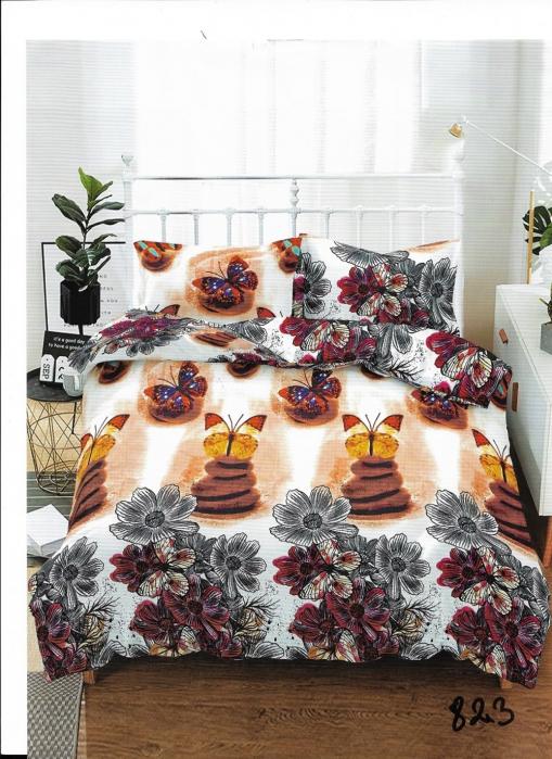 Lenjerie de pat pentru o persoana cu husa de perna dreptunghiulara, Unique, bumbac mercerizat, multicolor 0