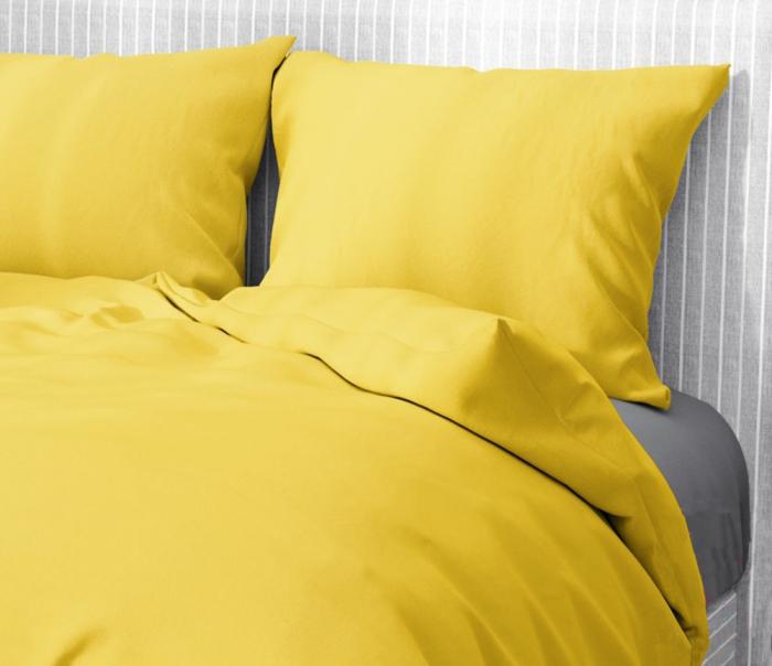 Lenjerie de pat pentru o persoana cu husa elastic pat si fata perna dreptunghiulara, Aiden, bumbac satinat, gramaj tesatura 120 g/mp, galben [1]