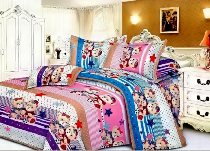 Lenjerie de pat pentru o persoana cu husa elastic pat si fata perna dreptunghiulara, Amazing, bumbac mercerizat, multicolor [0]