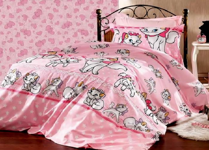 Lenjerie de pat pentru o persoana cu husa elastic pat si fata perna dreptunghiulara, Barbie, bumbac satinat, gramaj tesatura 120 g/mp, multicolor [0]