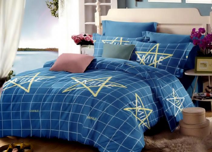 Lenjerie de pat pentru o persoana cu husa elastic pat si fata perna dreptunghiulara, Blue smile, bumbac mercerizat, multicolor [0]