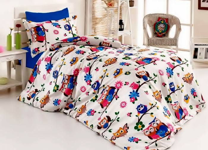 Lenjerie de pat pentru o persoana cu husa elastic pat si fata perna dreptunghiulara, Bufnita vesela, bumbac satinat, gramaj tesatura 120 g/mp, multicolor 0