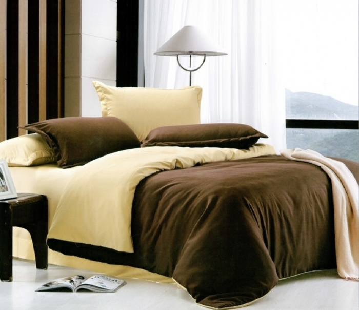 Lenjerie de pat pentru o persoana cu husa elastic pat si fata perna dreptunghiulara, Callie, bumbac satinat, gramaj tesatura 120 g/mp, crem/maro [0]