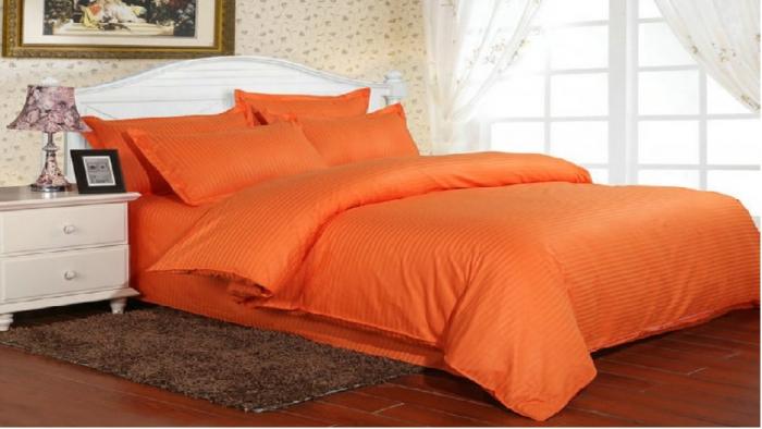 Lenjerie de pat matrimonial SUPER cu husa de perna dreptunghiulara, Elegance, damasc, dunga 1 cm 130 g/mp, Portocaliu, bumbac 100% 0