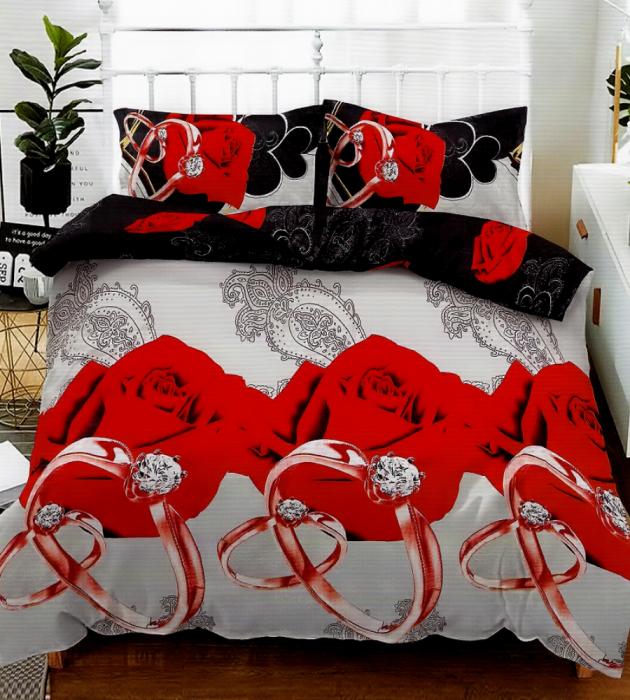 Lenjerie de pat pentru o persoana cu husa elastic pat si fata perna dreptunghiulara, Fire, bumbac mercerizat, multicolor 0