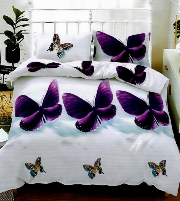 Lenjerie de pat pentru o persoana cu husa elastic pat si fata perna dreptunghiulara, Freedom, bumbac mercerizat, multicolor [0]