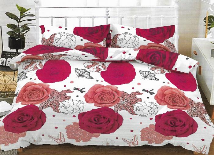 Lenjerie de pat pentru o persoana cu husa elastic pat si fata perna dreptunghiulara, Hailey, bumbac mercerizat, multicolor 0