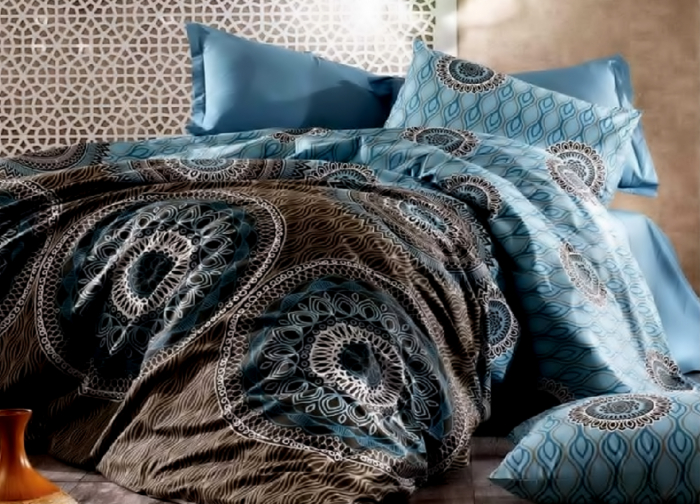Lenjerie de pat pentru o persoana cu husa elastic pat si fata perna dreptunghiulara, Insula Zeilor, bumbac satinat, gramaj tesatura 120 g/mp, multicolor [0]