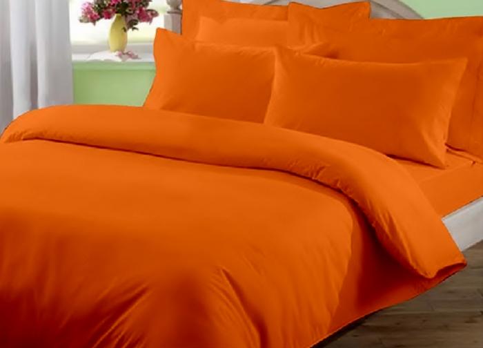 Lenjerie de pat pentru o persoana cu husa elastic pat si fata perna dreptunghiulara, June, bumbac satinat, gramaj tesatura 120 g/mp, Portocaliu [0]