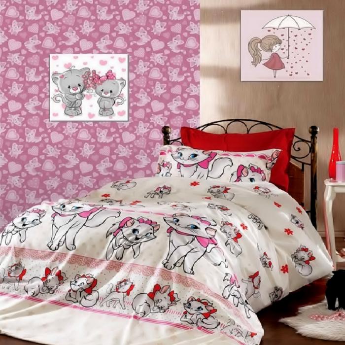 Lenjerie de pat pentru o persoana cu husa elastic pat si fata perna dreptunghiulara, Kitty, bumbac satinat, gramaj tesatura 120 g/mp, multicolor [0]
