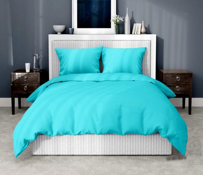 Lenjerie de pat pentru o persoana cu husa elastic pat si fata perna dreptunghiulara, Leah, bumbac satinat, gramaj tesatura 120 g/mp, turcoaz [0]