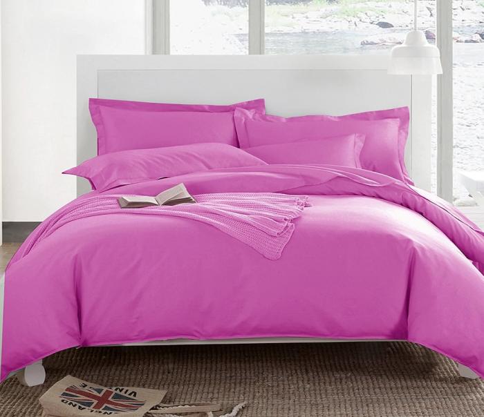 Lenjerie de pat pentru o persoana cu husa elastic pat si fata perna dreptunghiulara, Levi, bumbac satinat, gramaj tesatura 120 g/mp, roz [0]