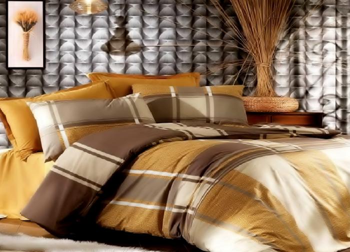 Lenjerie de pat pentru o persoana cu husa elastic pat si fata perna dreptunghiulara, Liniar, bumbac satinat, gramaj tesatura 120 g/mp, multicolor 0