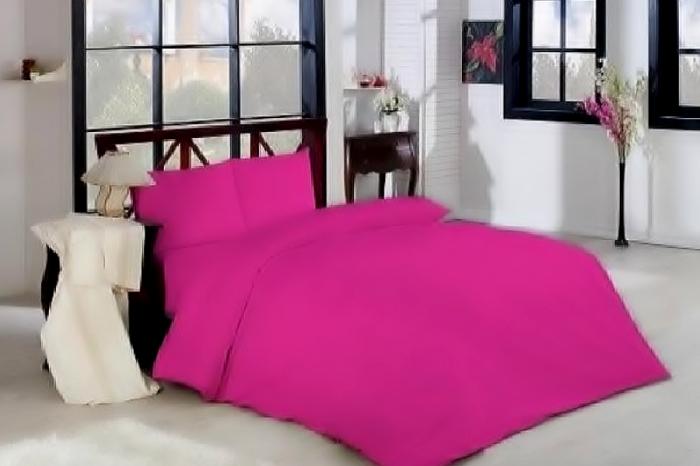 Lenjerie de pat pentru o persoana cu husa elastic pat si fata perna dreptunghiulara, London, bumbac satinat, gramaj tesatura 120 g/mp, Roz 0