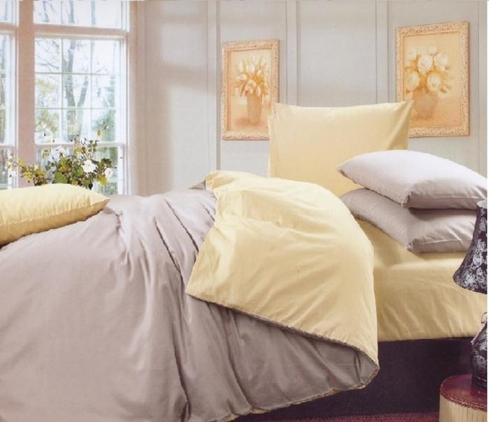 Lenjerie de pat pentru o persoana cu husa elastic pat si fata perna dreptunghiulara, Magnolia, bumbac satinat, gramaj tesatura 120 g/mp, gri/crem [0]