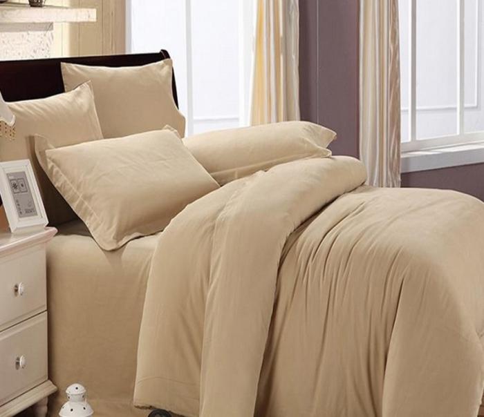 Lenjerie de pat pentru o persoana cu husa elastic pat si fata perna dreptunghiulara, Molly, bumbac satinat, gramaj tesatura 120 g/mp, cappuccino [0]