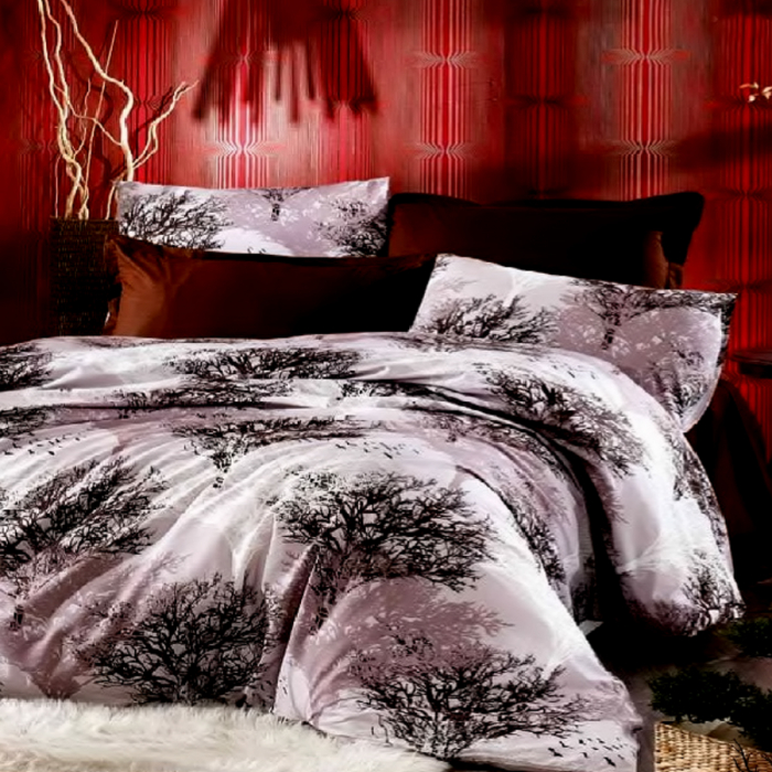 Lenjerie de pat pentru o persoana cu husa elastic pat si fata perna dreptunghiulara, Nature, bumbac satinat, gramaj tesatura 120 g/mp, multicolor [0]