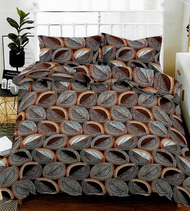 Lenjerie de pat pentru o persoana cu husa elastic pat si fata perna dreptunghiulara, Nest, bumbac mercerizat, multicolor [0]