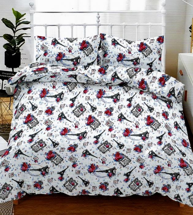 Lenjerie de pat pentru o persoana cu husa elastic pat si fata perna dreptunghiulara, Nice, bumbac mercerizat, multicolor [0]