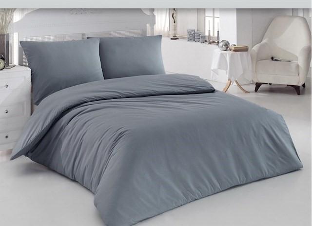 Lenjerie de pat pentru o persoana cu husa elastic pat si fata perna dreptunghiulara, Notorious, bumbac satinat, gramaj tesatura 120 g/mp, Gri 0