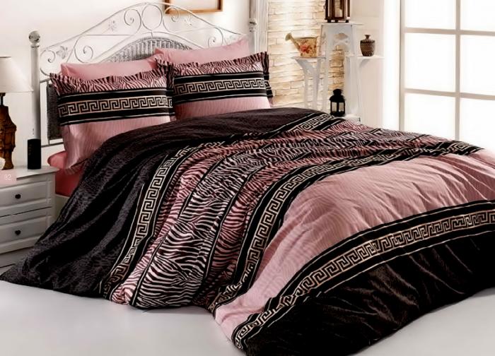Lenjerie de pat pentru o persoana cu husa elastic pat si fata perna dreptunghiulara, Rose, bumbac satinat, gramaj tesatura 120 g/mp, multicolor [0]
