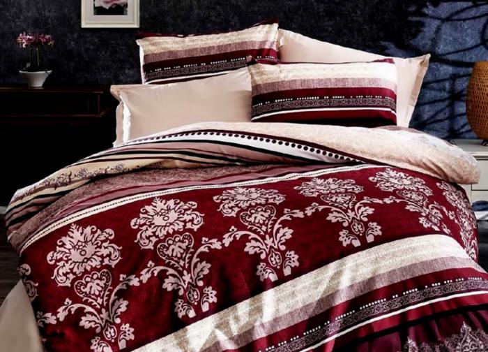 Lenjerie de pat pentru o persoana cu husa elastic pat si fata perna dreptunghiulara, Sinatra, bumbac satinat, gramaj tesatura 120 g/mp, multicolor 0