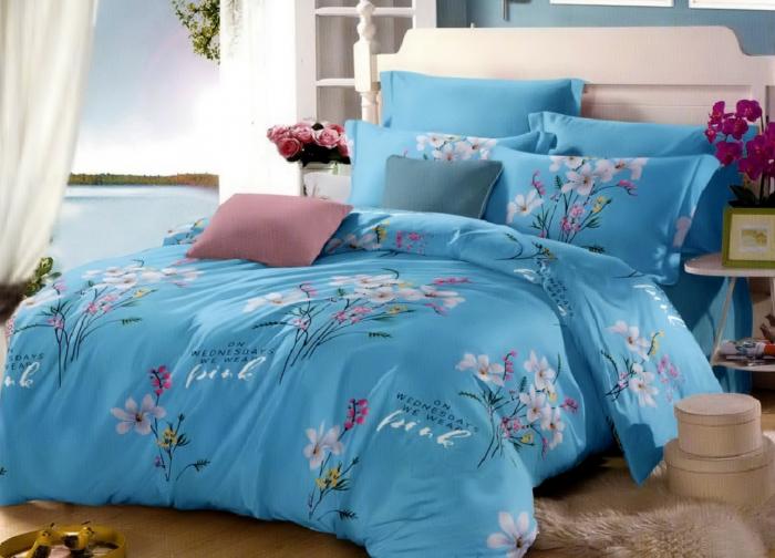 Lenjerie de pat pentru o persoana cu husa elastic pat si fata perna dreptunghiulara, Wednesday, bumbac mercerizat, multicolor [0]
