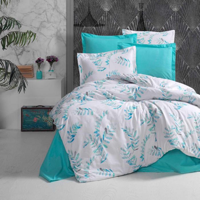 Lenjerie de pat pentru o persoana cu husa elastic pat si perna dreptunghiulara, Elisa, bumbac satinat, multicolor [0]