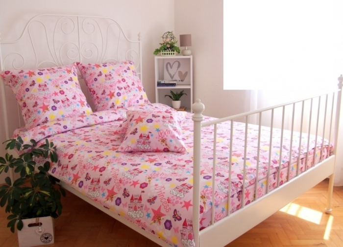 Lenjerie de pat pentru o persoana cu husa elastic pat si perna dreptunghiulara, Princess, bumbac satinat, multicolor 0