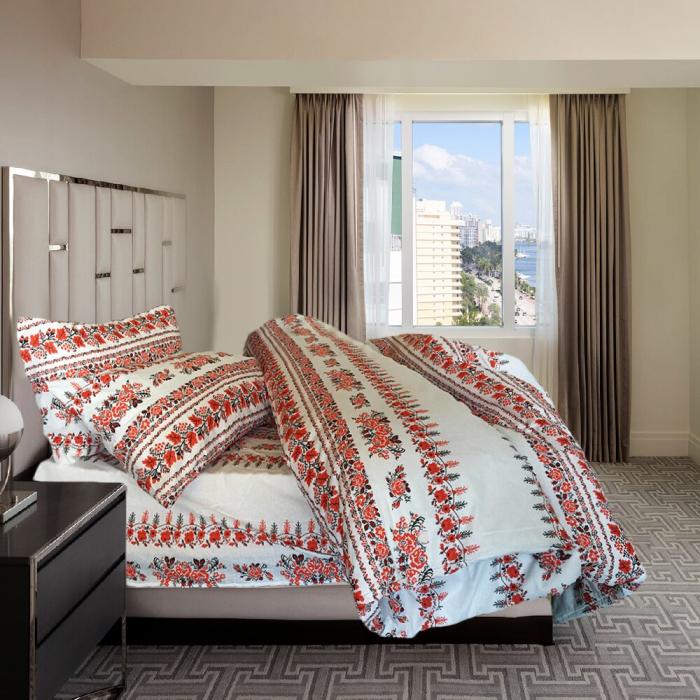 Lenjerie de pat pentru o persoana cu husa elastic pat si perna dreptunghiulara, Traditional, bumbac satinat, multicolor 1