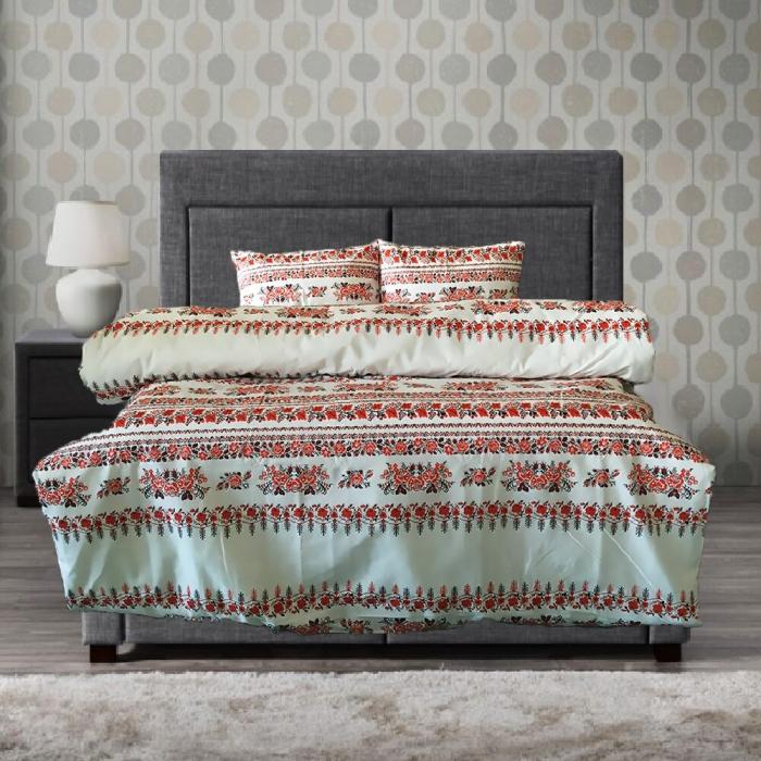 Lenjerie de pat pentru o persoana cu husa elastic pat si perna dreptunghiulara, Traditional, bumbac satinat, multicolor 0