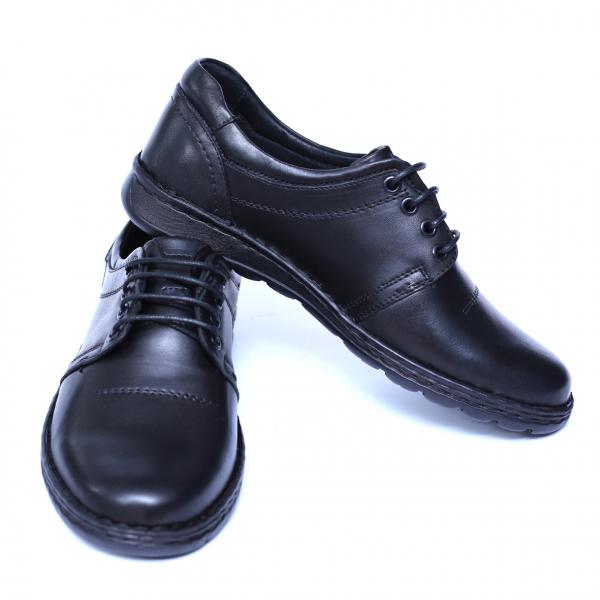 Pantofi barbati din piele naturala, Eddie, Cobra, Negru, 39 EU 2