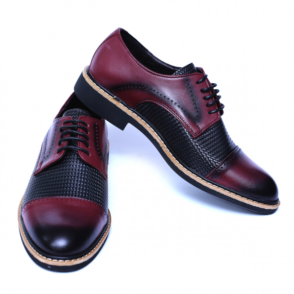 Pantofi barbati din piele naturala, Elvis, Relin, Bordeaux, 39 EU [2]