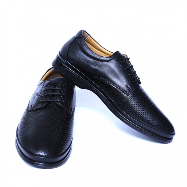 Pantofi barbati din piele naturala cu talpa ortopedica, Flow, Dr. Jells, Negru, 40 EU [2]