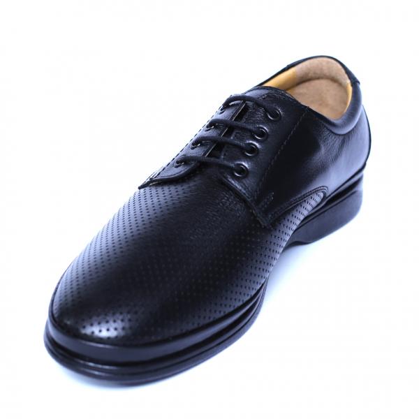 Pantofi barbati din piele naturala cu talpa ortopedica, Flow, Dr. Jells, Negru, 40 EU [0]