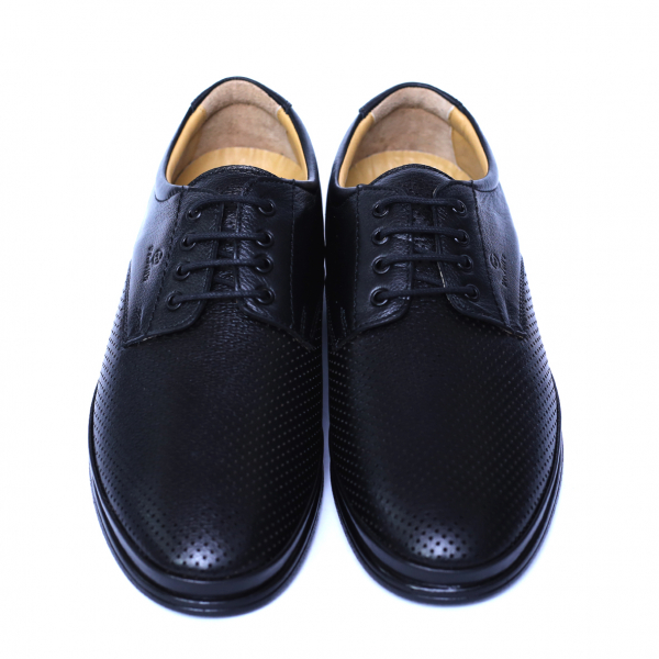 Pantofi barbati din piele naturala cu talpa ortopedica, Flow, Dr. Jells, Negru, 40 EU [1]
