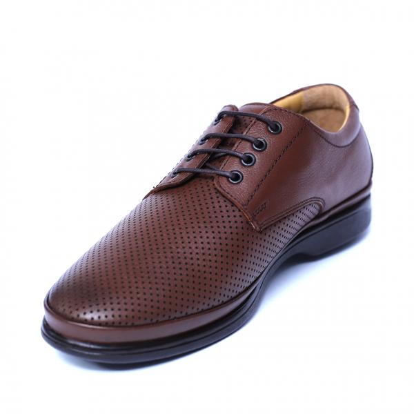 Pantofi barbati din piele naturala cu talpa ortopedica, Flow, Dr. Jells, Maro, piele naturala, 39 EU 0
