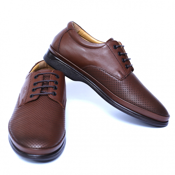 Pantofi barbati din piele naturala cu talpa ortopedica, Flow, Dr. Jells, Maro, piele naturala, 39 EU 2