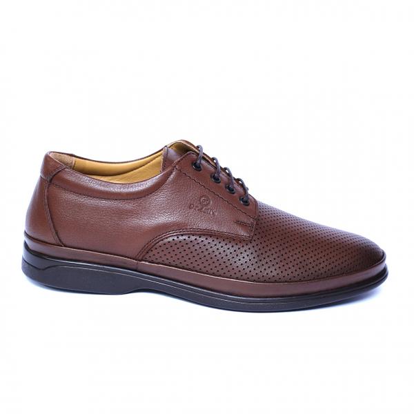 Pantofi barbati din piele naturala cu talpa ortopedica, Flow, Dr. Jells, Maro, piele naturala, 39 EU 3