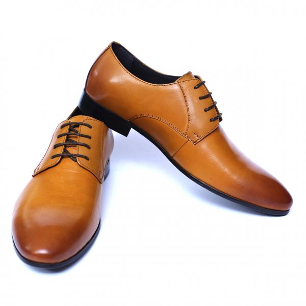 Pantofi barbati din piele naturala, Scottie, SACCIO, Maro, 39 EU 2