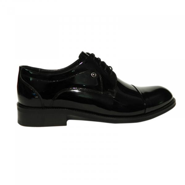 Pantofi eleganti pentru barbati Buzz, piele naturala, Gitanos, Negru lac, 39 EU 0