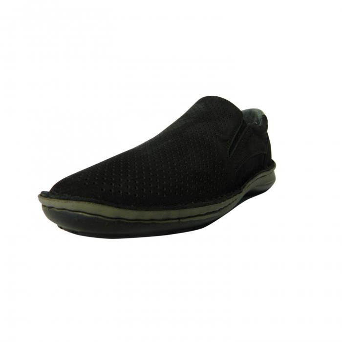 Pantofi casual pentru barbati din piele naturala, Florida, Dr. Jells, Negru nabuc, 43 EU 2