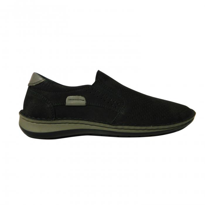 Pantofi casual pentru barbati din piele naturala, Florida, Dr. Jells, Negru nabuc, 43 EU 0